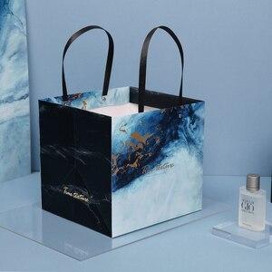 Image 2 - Sac cadeau marbré exquis en papier, sac cadeau daffaires Simple, sac pour les courses en papier, articles demballage, 1 unité