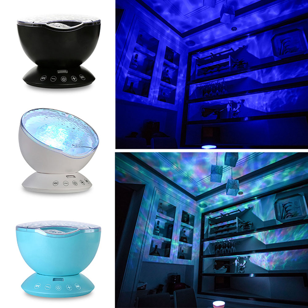 Led Night Light Ocean Waves Starry Sky Projector With Remote Control Novelty Lamp For Kids ALI88 7colors led night light starry sky remote control ocean wave projector with mini music novelty baby lamp led night lamp for kids