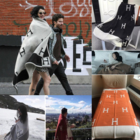 Hot soft H cashmere blanket large big thick wool scarf cape shawl women men knitted warm sofa bed blanket throw blanket