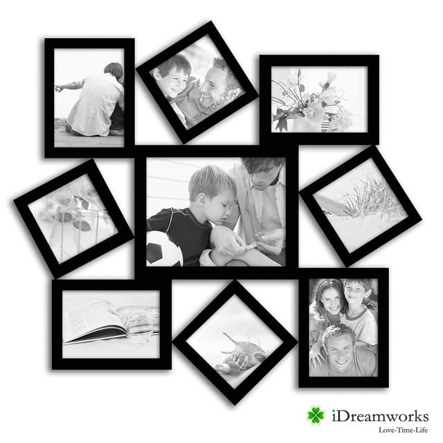 Atractivo marcos de fotos Collage con lámpara Massena mate negro ...