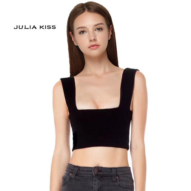 99f464869efa65 Women Crop Tank Top Square Neck Crop Tops Thick Strappy Cami Crop Top
