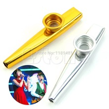 F85 hot Metal Golden Kazoo Mouth Harmonica Flute Kids Party Gift Kid Musical Instrument