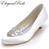 EP2086 Woman Shoes Wedding Bridal White Ivory Pointed Toe Low Heels Comfort Satin Lady Female Bride