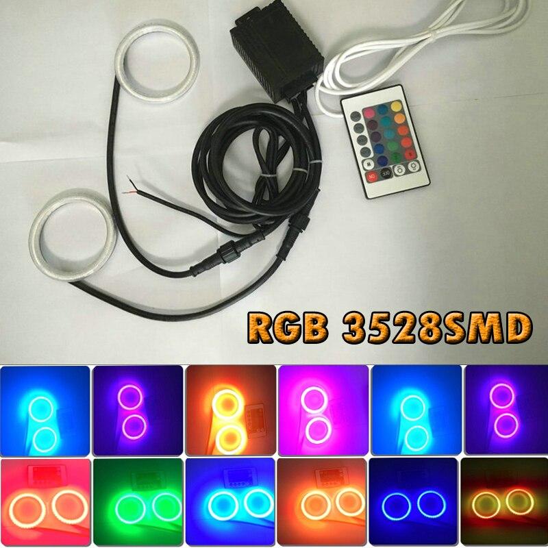 2pcs/lot 60mm 75mm 80mm 90mm 100mm 120mm 140mm 3528SMD RGB LED Angel Eyes Light Headlight with Halo Ring IR Remote Control Kit