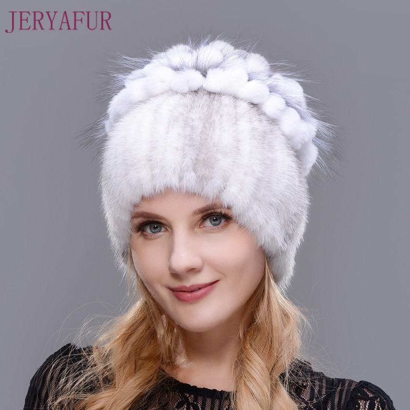 2017 Rabbit Fur Petal On The Top Mix With Fox Fur Warm And Fashion Ear Warm Cap Winter Natural Imported Mink Fur Hat For Women 2017 of the latest fashion have a lovely the hat of the ear lovely naughty lady s hat women s warm and beautiful style