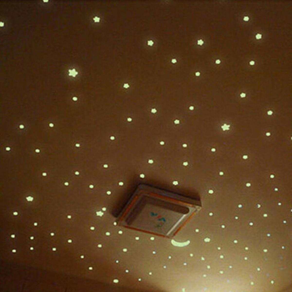 100Pcs Noctilucent Sticker / Vinyl Wall sticker Star Design in sky Bright Shining in dark Kitchen decoration Home Fluorescent