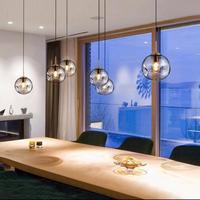 Bar Salon hollow glass ball Pendant Light home lighting E27 Living Room Hanging Lights North European Restaurant Glass Led Lampe