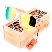 BOBOBIRD Brand Design Unisex Fashion Sunglasses Transparent Plastic Bamboo Frame Colorful Polarized Lens Sun Glasses With