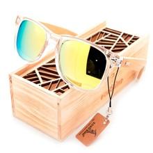 BOBO BIRD CG008 Brand Design Unisex Fashion Sunglasses Transparent Plastic & Bamboo Frame Colorful Polarized Lens Sun Glasses