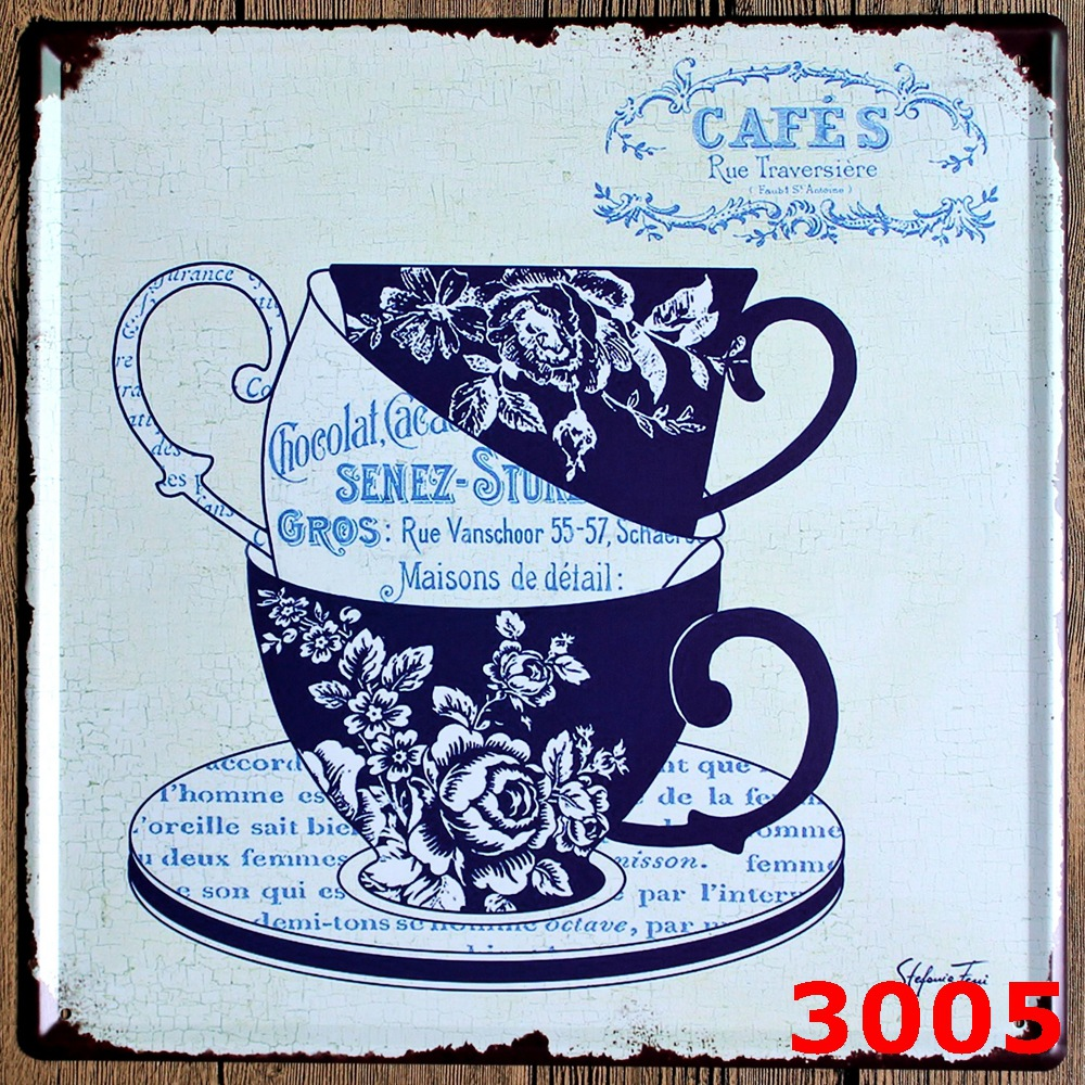 CAFES Large Vintage license plate Metal signs home decor Office Restaurant Bar Metal Painting art 30x30 CM