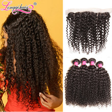 Longqi Hair Cambodian Curly Hair Bundles with Frontal Natural Color Remy Human Hair 3 Bundles with Lace Frontal 13x4 Pre Plucked(China)