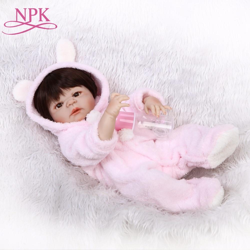 NPK full silicone vinyl reborn dolls 23inch 57cm Newborn Babies Doll Realistic Lifelike baby with Pink
