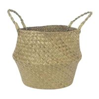 YHYS Storage Basket Wicker Flower Basket Foldable Braid Laundry Basket Dirty Round Wicker 32 x 28cm