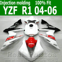 100% Injection molding fairing body kit for YAMAHA R1 2004 2005 2006 white red black fairings set 04 05 06 YZF R1 AS20