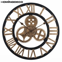 Homingdeco 60cm Vintage Large Wall Clock Retro Gear Rome Style Quarz Silent Wall Clock For Home Living Room Decor Golden