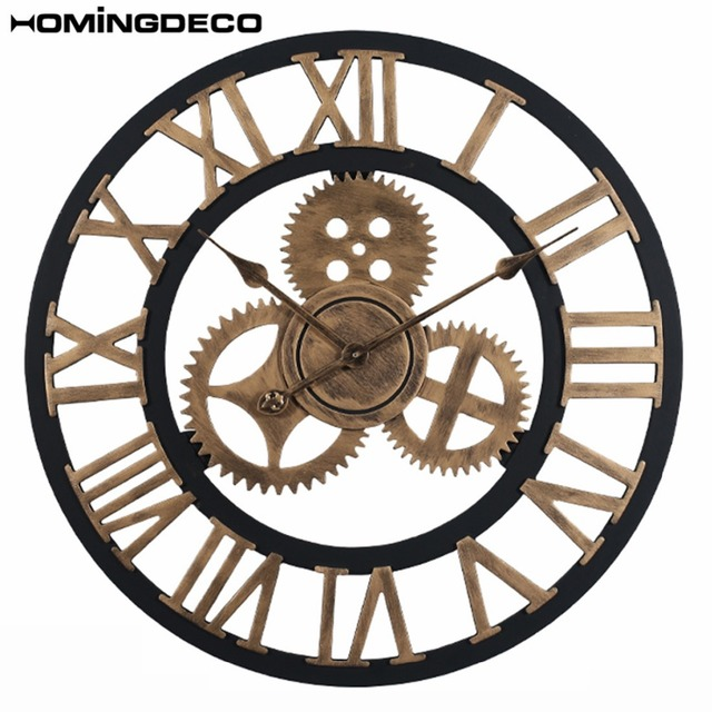 Homingdeco 60cm Vintage large decorative wall clocks Retro Gear Rome Style Quarz Silent large wall clocks for the living room