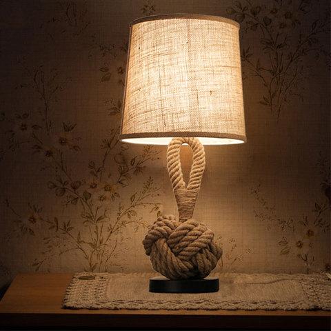 luz corda canhamo decorativo lampada mesa