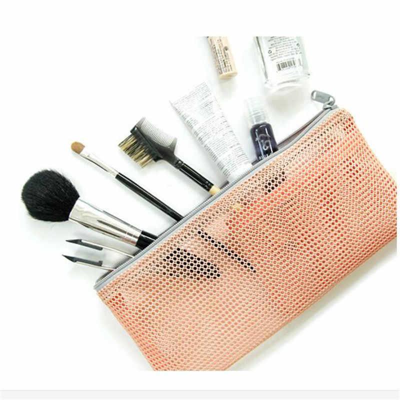 Mini Mulheres Malha Saco Cosmético Escova lápis batom Maquiagem compo o Saco Organizador Pequeno viajar Estojos de Cosméticos Bolsa De Armazenamento