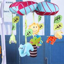 Cute cartoon animal Baby Stroller Soft Plush Rattle Toy Plush Bed Wind Chimes Crib Bell Kids Hanging Toy w/ Music Box