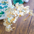 Retro Baroque crown Gold plated women crystal tiara stone queen hair ornaments pearl bridal hairband wedding accessories xingluo