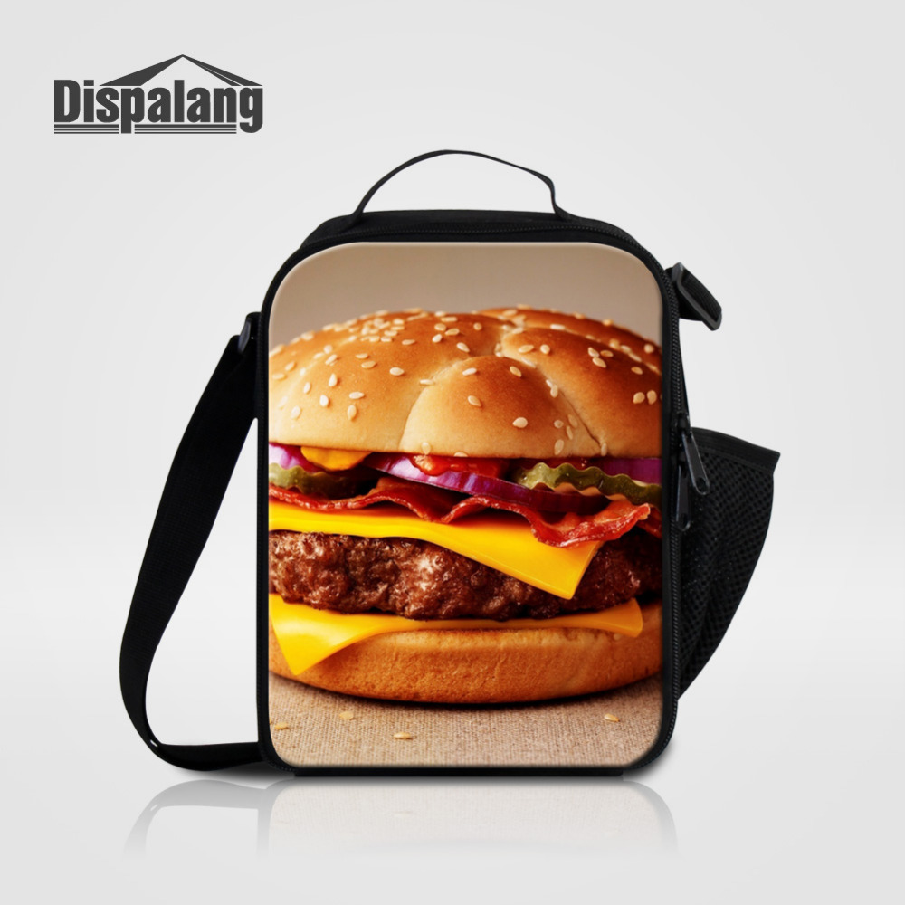 Dispalang Children Lunch Bag Hamburgers Print Insulated Lancheira Picnic Food Bag Zipper Thermal Shoulder Lunch Bags For School