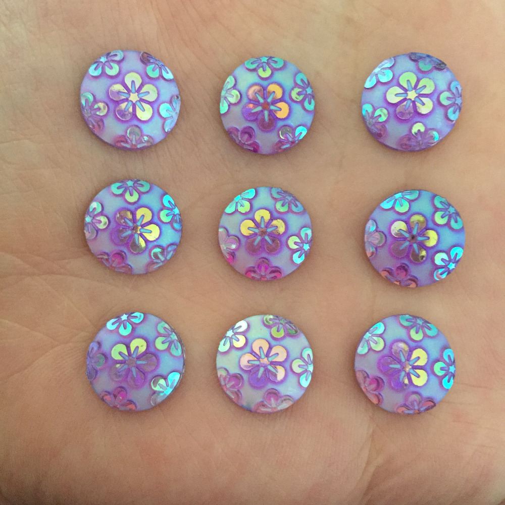 Wedding Flowers In Resin: (60 Pieces/lot) Purple AB Round Resin Flower Flatback
