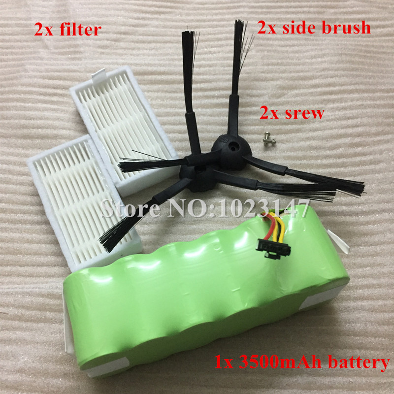 NI-MH 14.4V 3500mAh Panda X500 Battery + HEPA Filter*2 + Side Brush*2 for Ecovacs Mirror CR120 Robot Cleaner Dibea X500 X580 brand new mini prism with 4 poles for leica total stations prism constant 17 5mm gmp111 prism free shipping