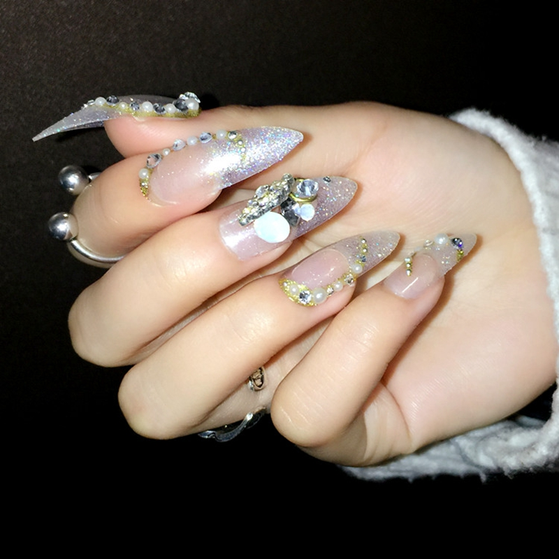 Pointed False Nail Tips Clear Silver Glitter 3D Rhinestones Beads ...