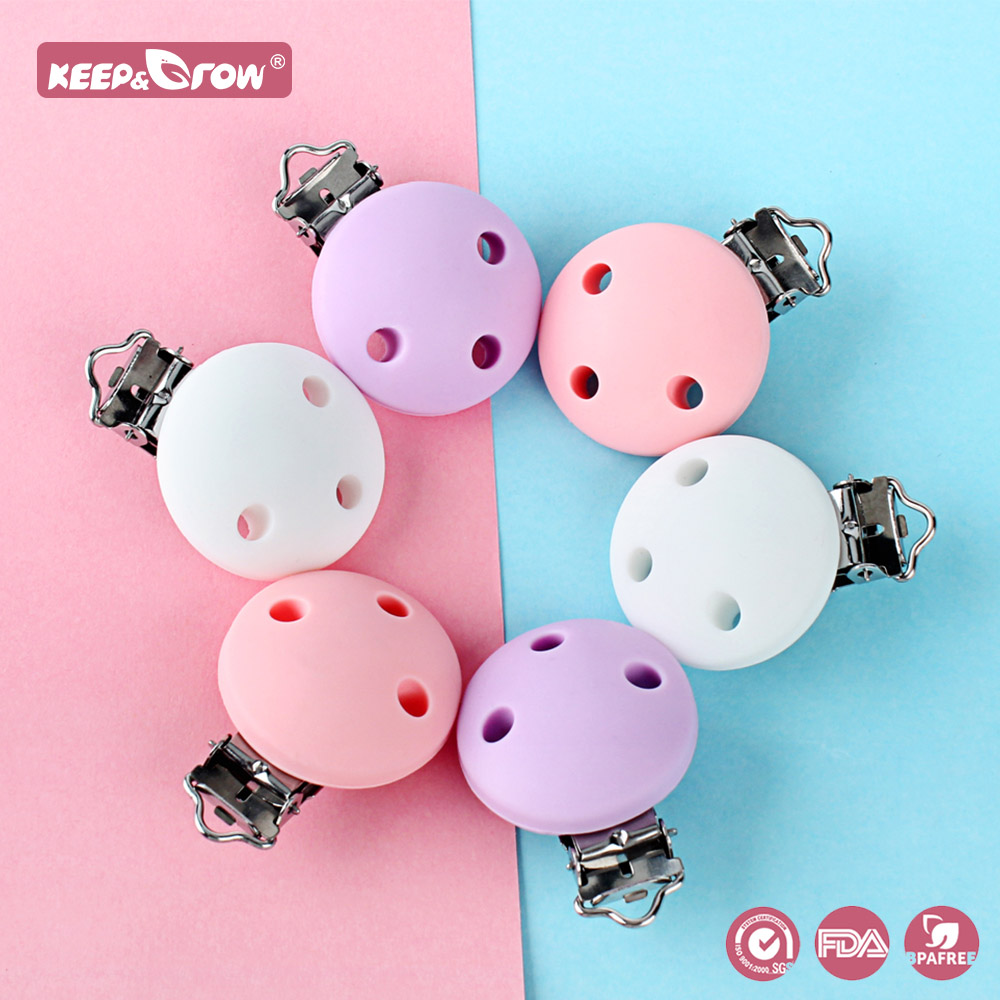 Keep&Grow 3Pcs Round Silicone Nipple Holder BPA Free Slicone Pacifier Clips Baby Teething Teethers For Pacifier Chain Making