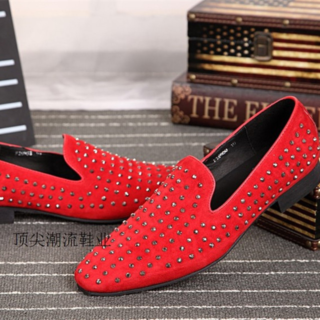 9b2e40a5273 Studded Red Loafers Spring Designer Flats spike Shoes Mens Leather moccasins  italian zapatos hombre size12