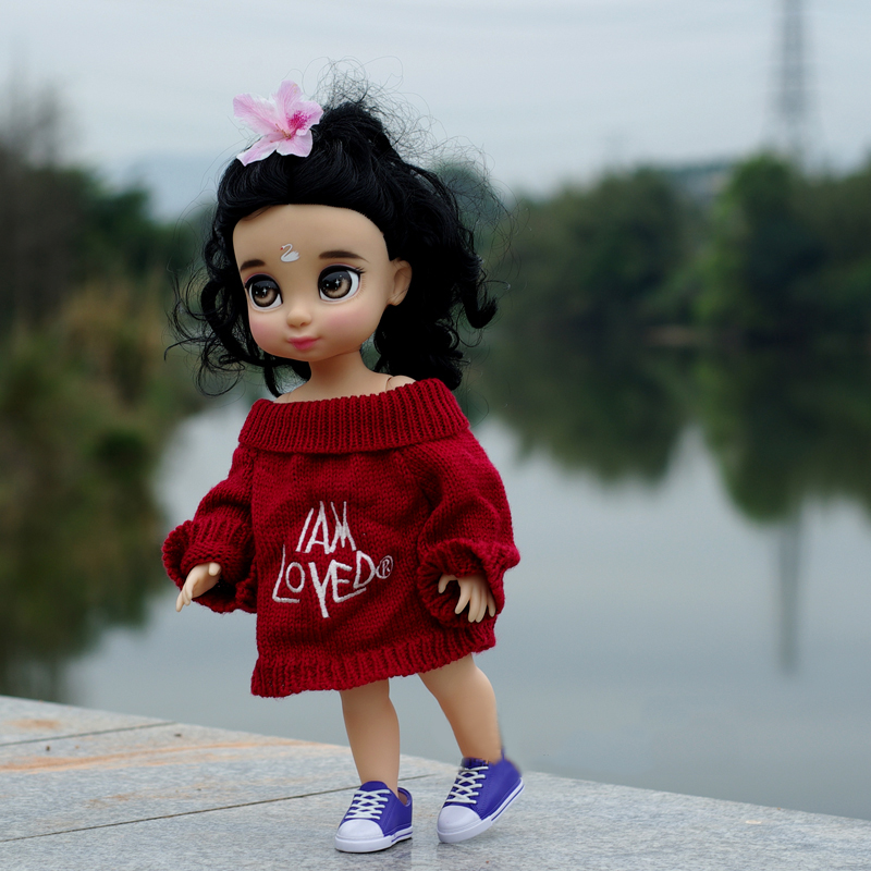 fashion Doll Clothes Wear fit 35-46CM Doll red high collar sweater girl gift Play House Doll Accessories