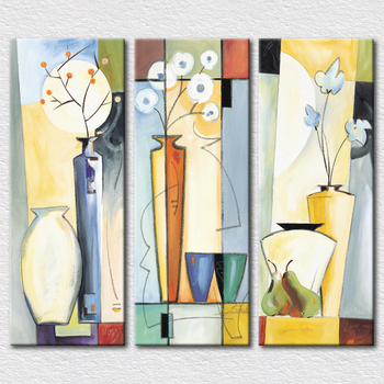 Wholesale Good price Gift canvas printed Abstract 3 set paintings for living room wall from hand painted oil painting 3pcs