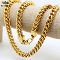 "Mens 24K Gold Plated 9mm 30""inch Franco Box Cuban Link Chain Stereo Herringbone Chain Necklace-185gram Heavy Hiphop Necklace"
