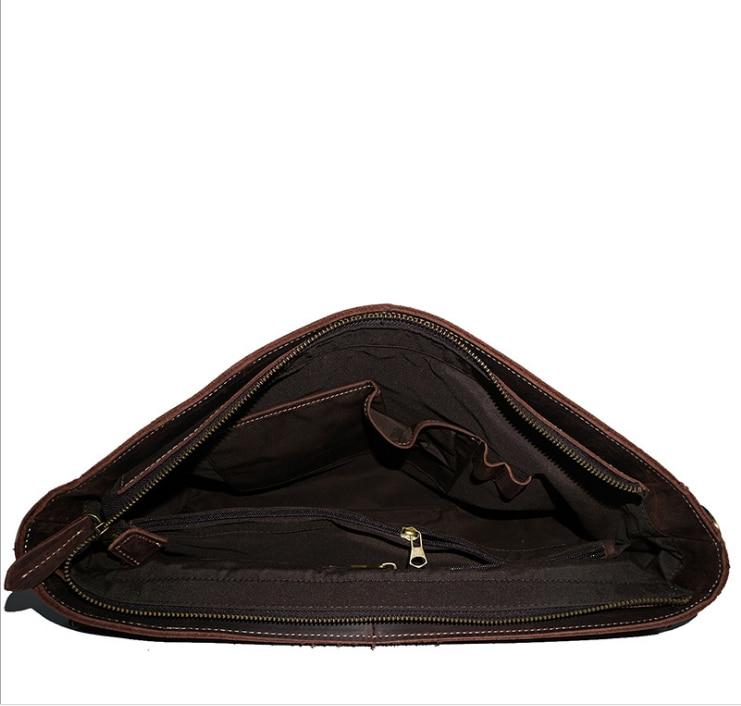 Top Grade Male Men's Vintage Real Crazy Horse Leather Briefcase Messenger Shoulder Portfolio 15' Laptop Bag Case Office Handbag