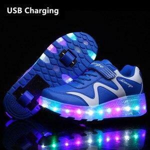 Кроссовки с двумя колесами и usb-зарядкой, красный светодиодный светильник, обувь для катания на роликах для детей, детская обувь с подсветко...