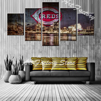 New Arrival HD 5 Pieces Wall Art Painting Canvas Painting About Beauty City Night Scene Painting