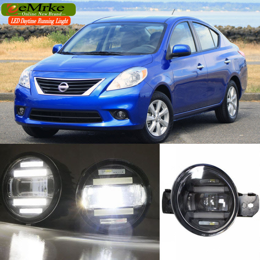 eeMrke Xenon White High Power 2in1 LED DRL Projector Fog Lamp With Lens For Nissan Versa Latio Sedan 2012-up