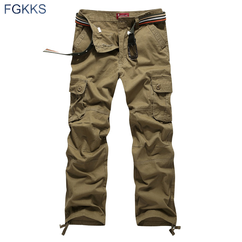 2018 Nueva Llegada de Alta Calidad Estilo de Primavera Ropa de Moda Superior Para Hombre Sólido Pantalones de Carga de Algodón Hombres Pantalones Joggers Más Tamaño