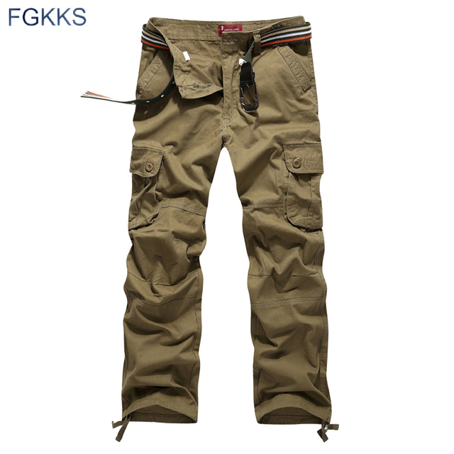 FGKKS 2020 New Arrival High Quality Spring Style Fashion Clothing Solid Mens Cargo Pants Cotton Men Trousers Joggers Plus Size