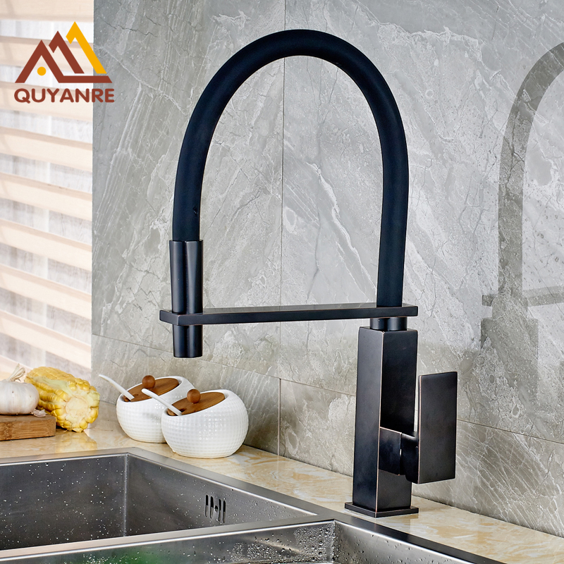 Blackened Finish 360 Degree Rotation Kitchen Tap Deck Mount Cold and Hot Water Faucet