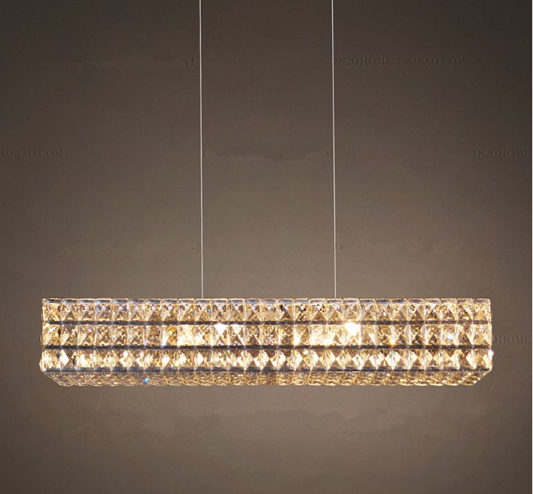 Luxurious Crystal Chandelier Light Fixture Rectangle Crystal Drop Lamparas for Living room Dining room Cafe Hotel Decoration