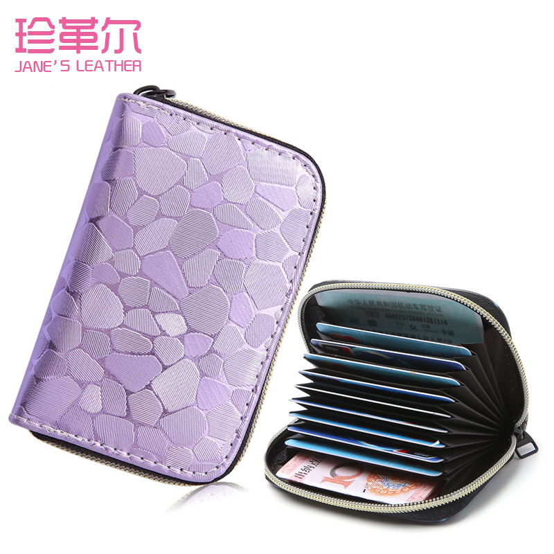 JANE'S LEATHER Women Men Shining Card Holder Fashion Extendable Credit ID Card Case Bags Wallet Carteira Muje Small Coin Purse