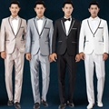 free shipping latest coat pant designs 2016 new mens suits Groomsmen white wedding dress singer host costumes mens silver suits