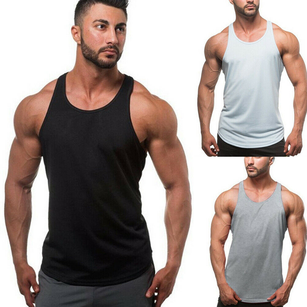 Gym Men Muscle Sleeveless Shirt Top Bodybuilding Sport Fitness Workout Vest