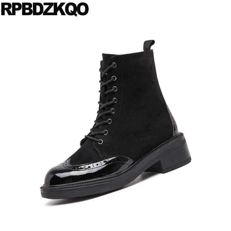 Vintage Hiver Rond Verni Bottes Casual Automne Militaire Lacent Noir Combat Cuir Chunky Richelieu En Bout Avant Chaussures Cheville Femmes g4qrwUBAg