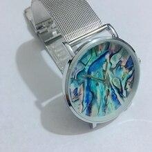 Авокадо 2018 Новый Цвет океан карту основа Материал серебристый сетчатый ремень Для женщин наручные Для мужчин кварцевые часы