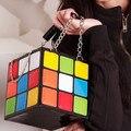 Nuevo Cubo Mágico Estilo Bolso de Embrague Del Día Bolsas de Las Mujeres Portátiles Bolso Tamaño: 15 CM * 15 CM 0.5 KG