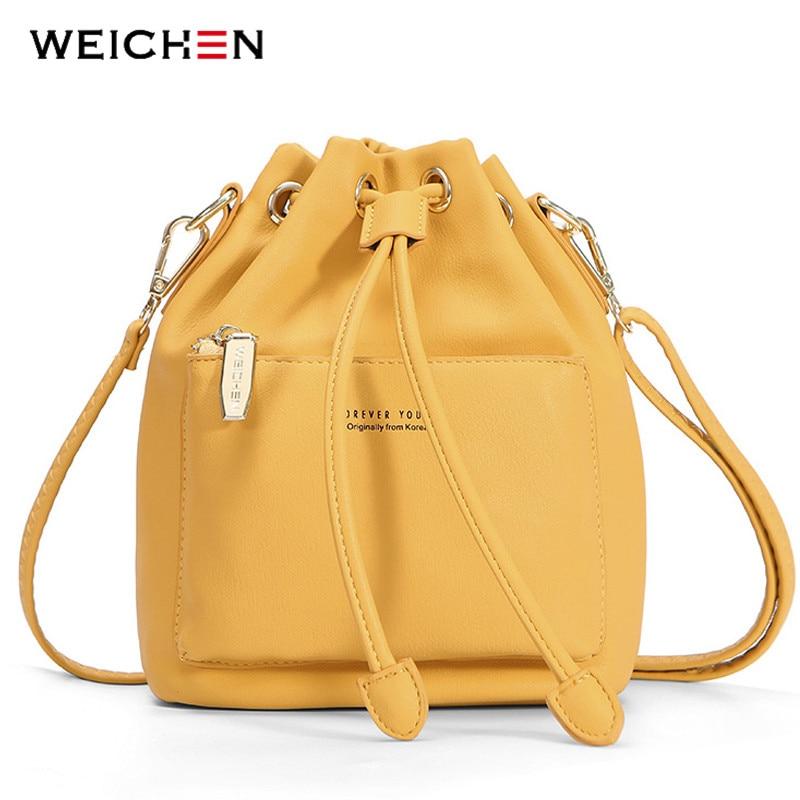 WEICHEN Fashion Bucket Shoulder Bag Women Drawstring Crossbody Bag Female Messenger Bags Ladies Synthetic Leather Handbag Sac