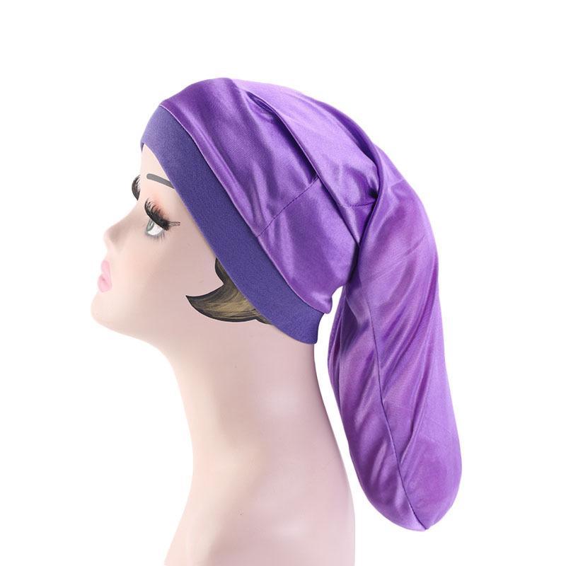 Image 5 - Women Wide Elastic Band Satin Bonnet Turban Braid Baggy Cap Hair  Care Chemo Hat Muslim Bonnet Islamic Beanies Skullies FashionWomens  Skullies