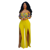 New 2017 summer women jumpsuit romper sexy embroidery hollow out slash neck yellow open jumpsuits bodysuit HD080